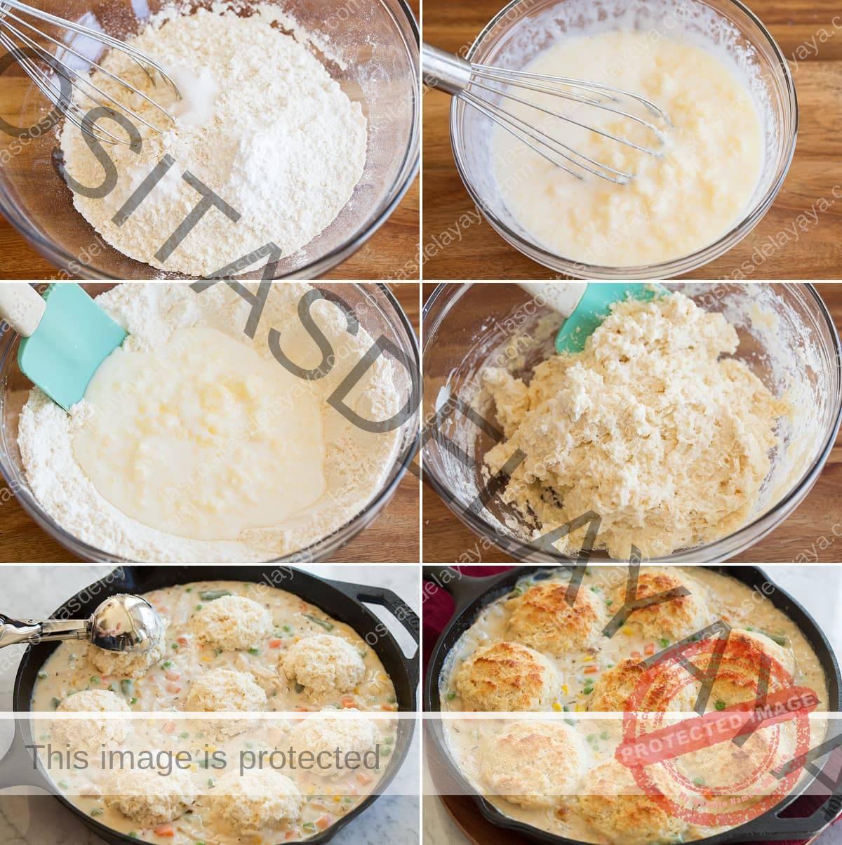 Collage de seis imágenes que muestran cómo hacer galletas para pastel de pollo.
