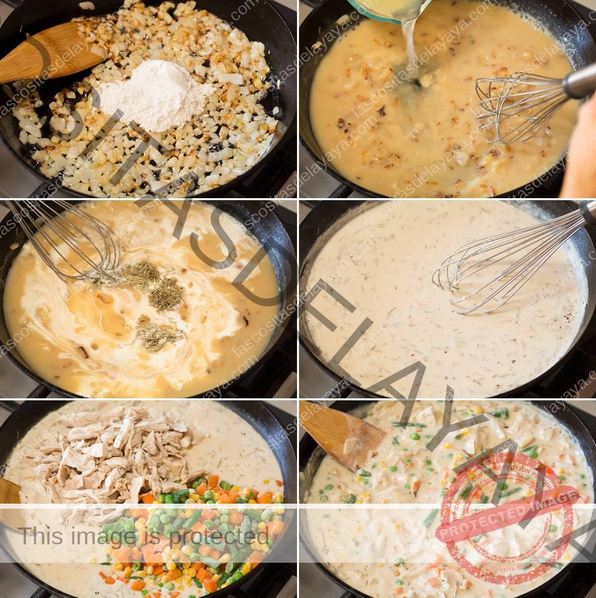 Collage de seis imágenes que muestran los pasos para hacer el relleno de pastel de pollo en una sartén de hierro fundido.