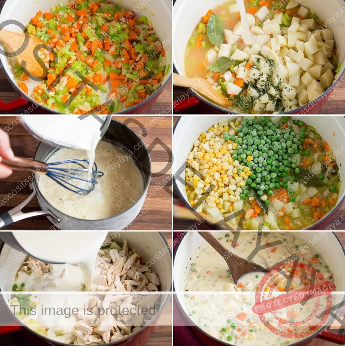 Imagen que muestra los pasos para hacer sopa de pastel de pollo en una sartén y también una salsa blanca en una sartén para agregar a la sopa.