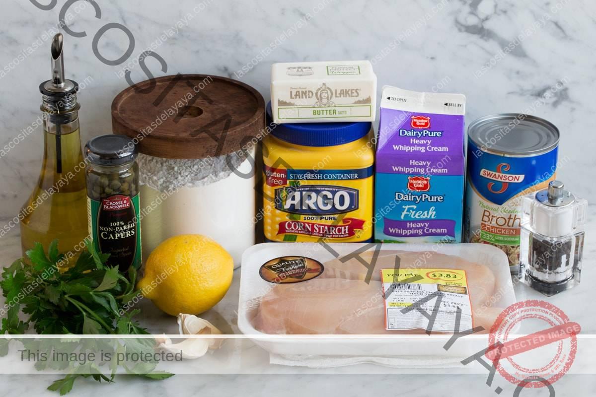Imagen de los ingredientes con los que se elabora la Piccata de Pollo.