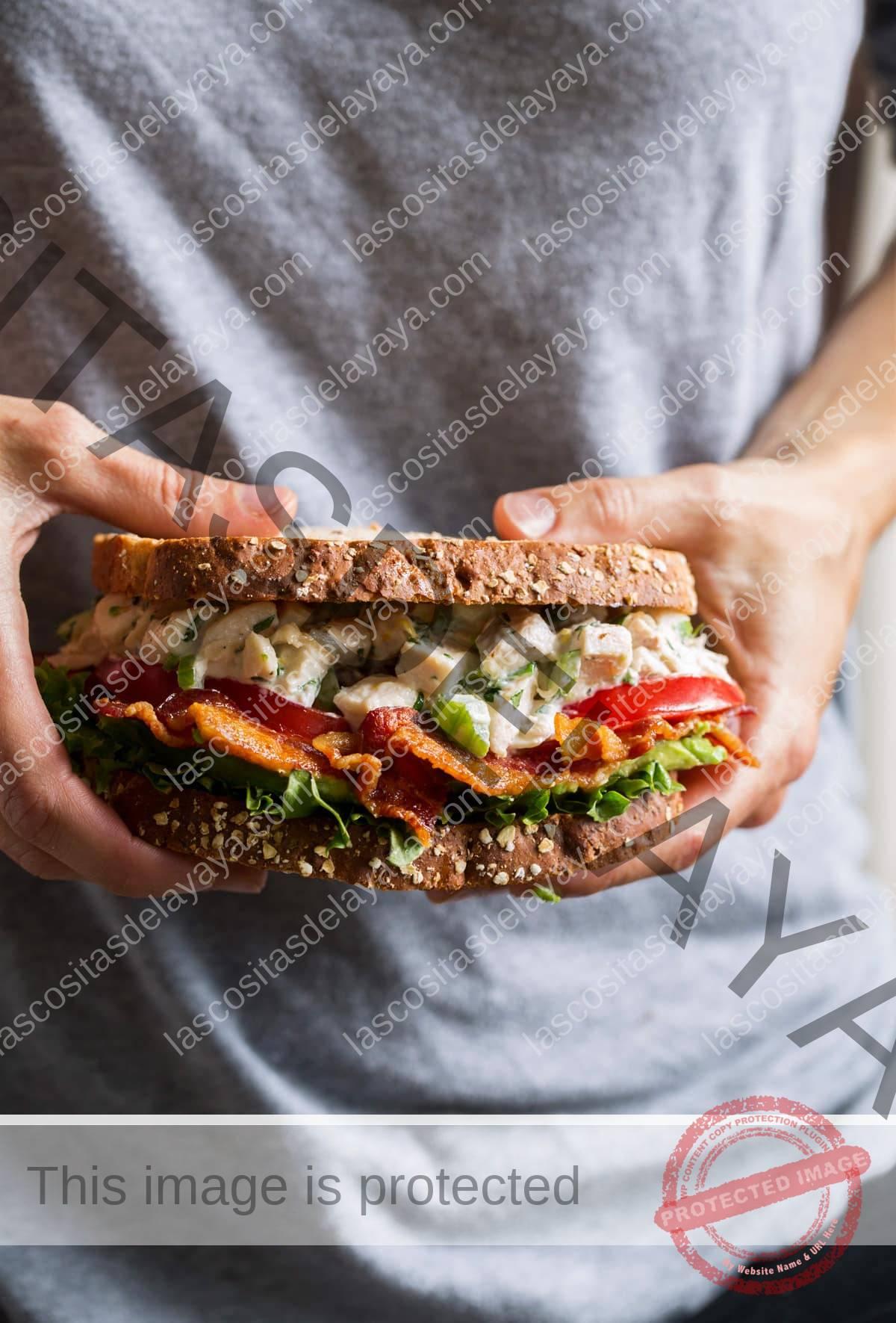 Persona sosteniendo sándwich de ensalada de pollo