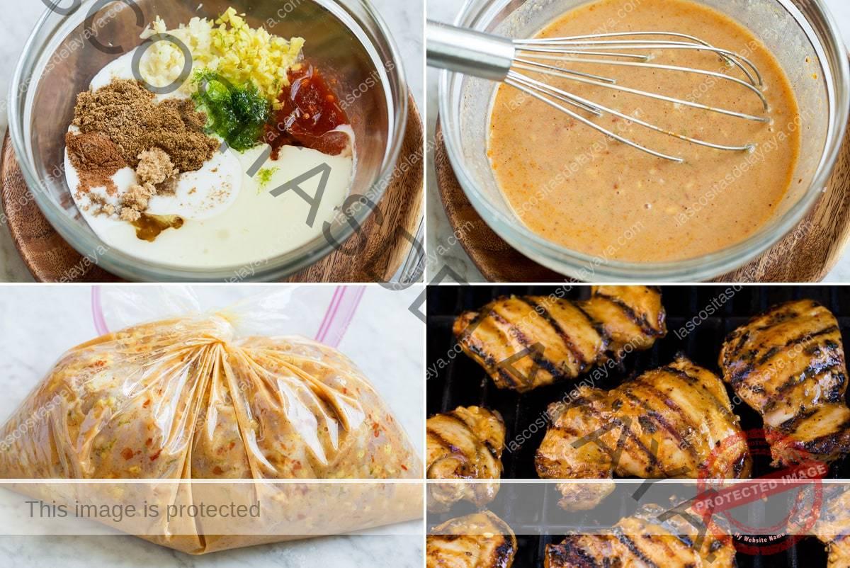 Colagem de quatro imagens que mostram as etapas de preparação da marinada de limão de coco e frango grelhado.