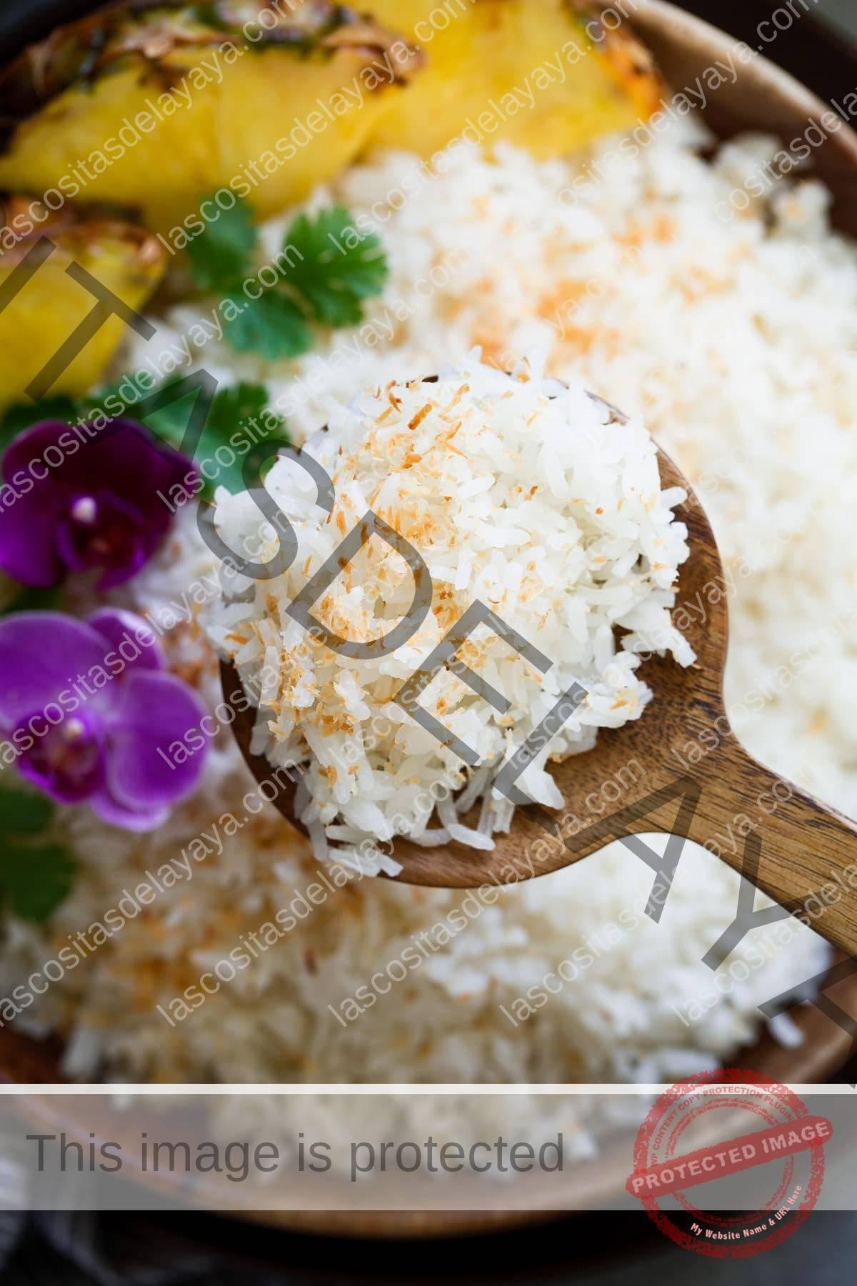 Cerrar imagen de arroz de coco decorado con coco tostado.