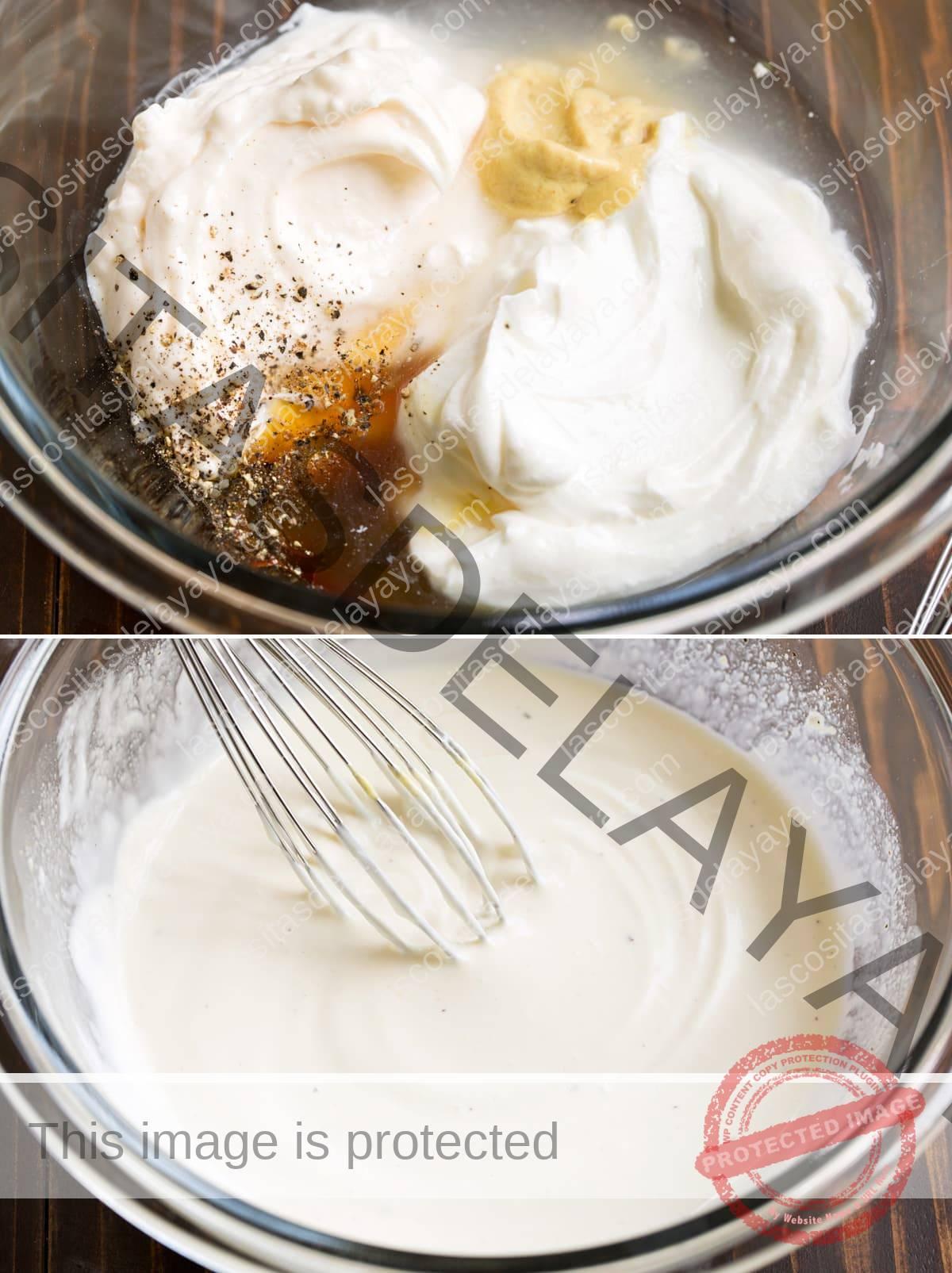 Imagen de collage de aderezo para ensalada de pasta en un recipiente que se muestra antes y después de mezclar.