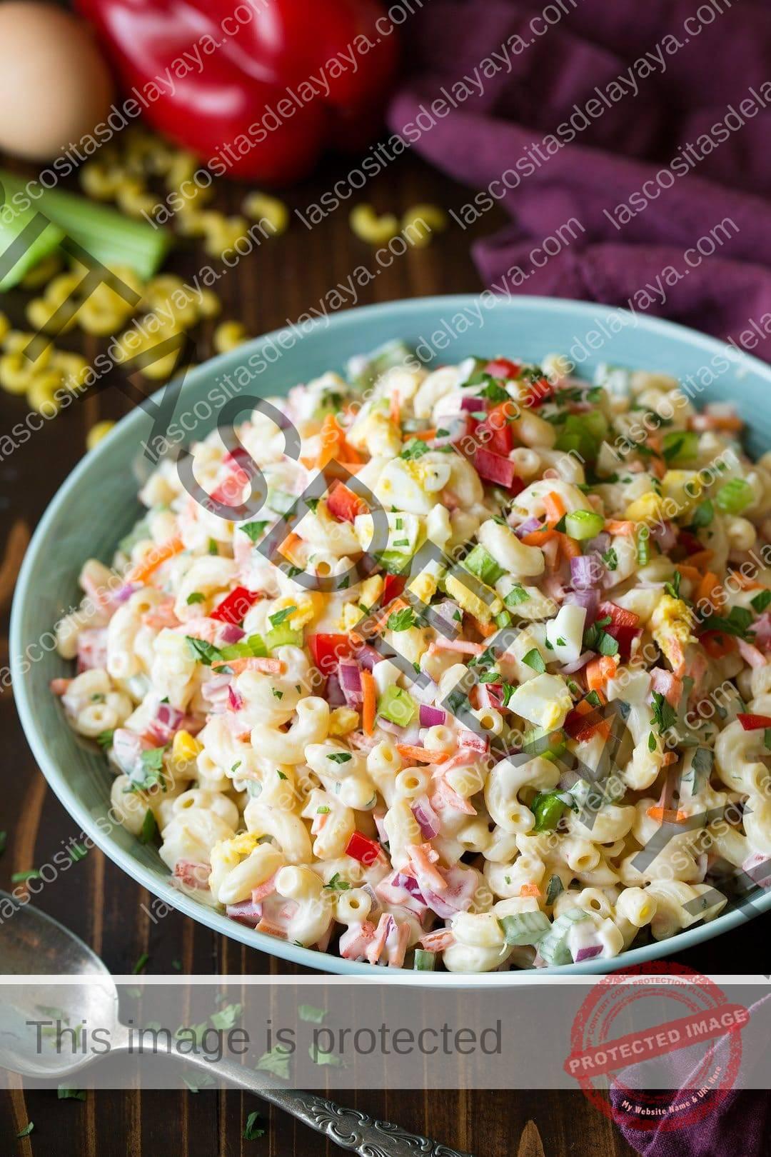 Plato de ensalada de pasta con cebolla morada, apio, pimientos, zanahorias y huevo
