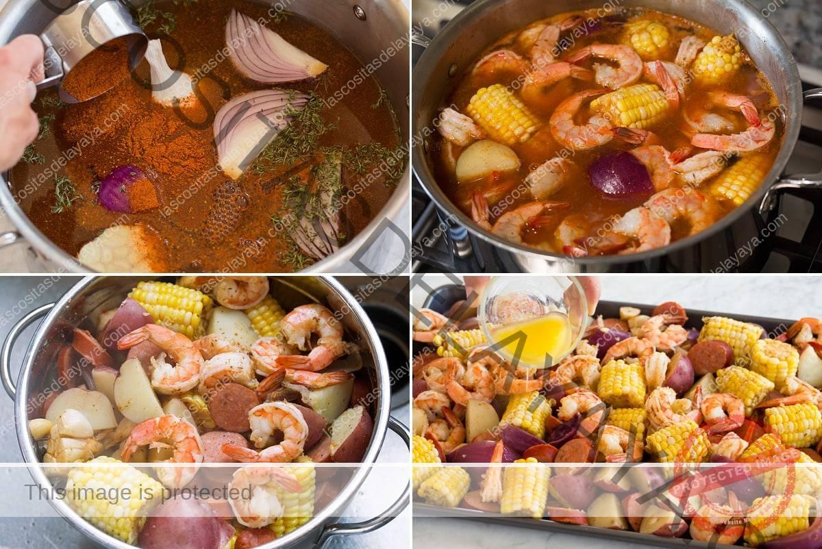 Imagen de collage de cuatro pasos que muestra cómo hacer hervir los camarones en una sartén, luego gotear en un colador y verter la mantequilla sobre la mezcla en un plato.