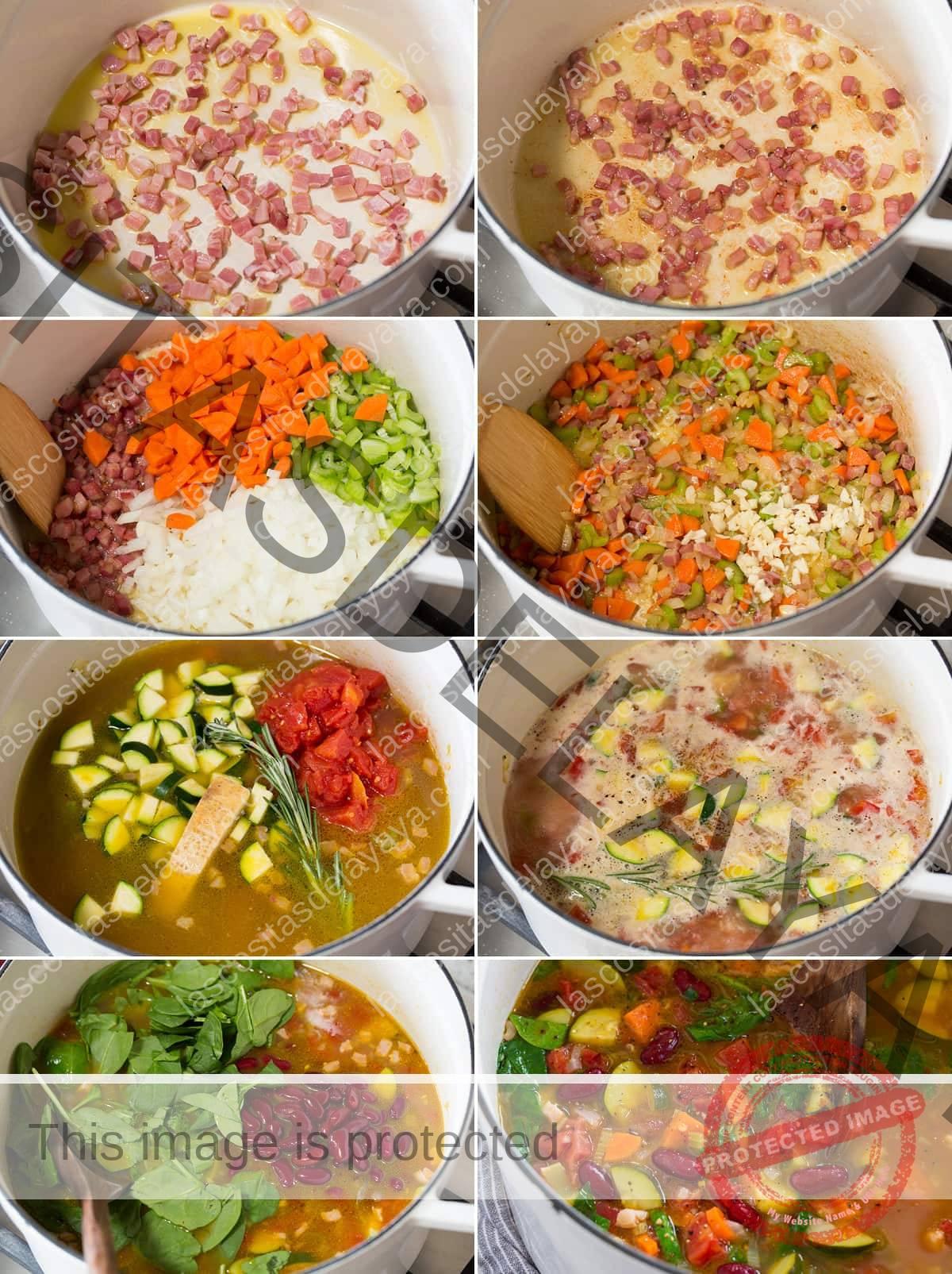 Collage de ocho imágenes que muestran los pasos para hacer sopa minestrone en una sartén sobre la estufa.