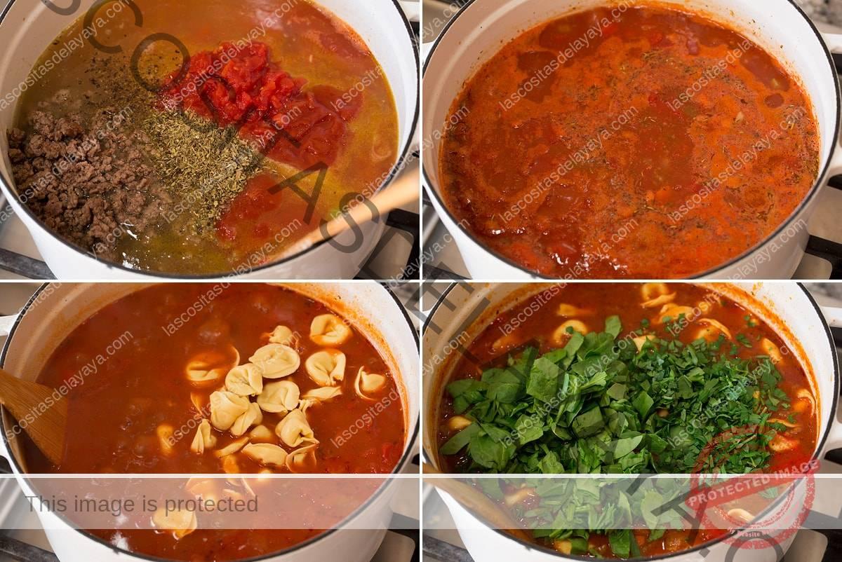 Collage de cuatro imágenes que muestran la mezcla de ingredientes líquidos para sopa, ebullición, adición de tortellini y espinacas.