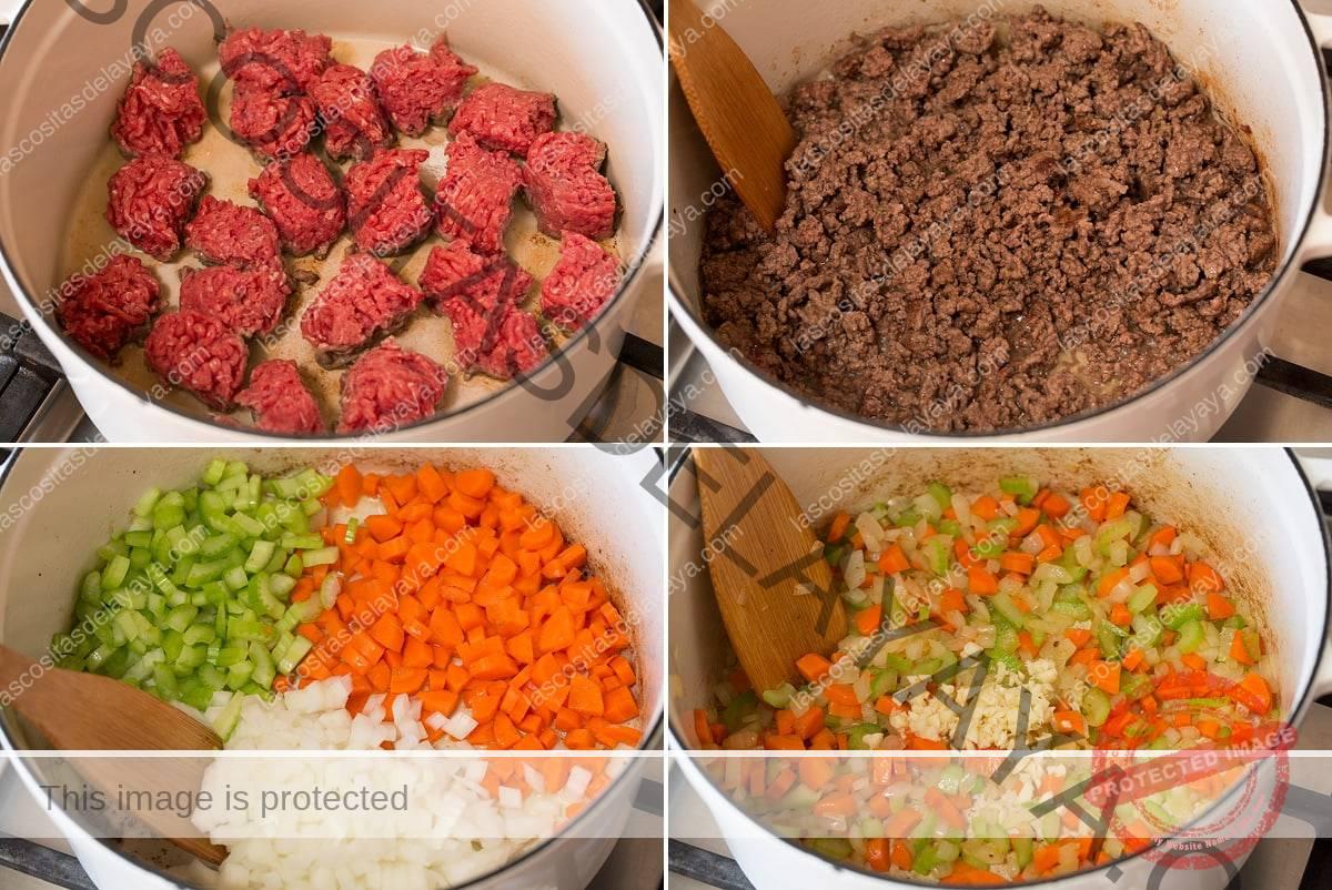 Collage de cuatro imágenes que muestran cómo dorar carne y saltear verduras para sopa en la sartén.