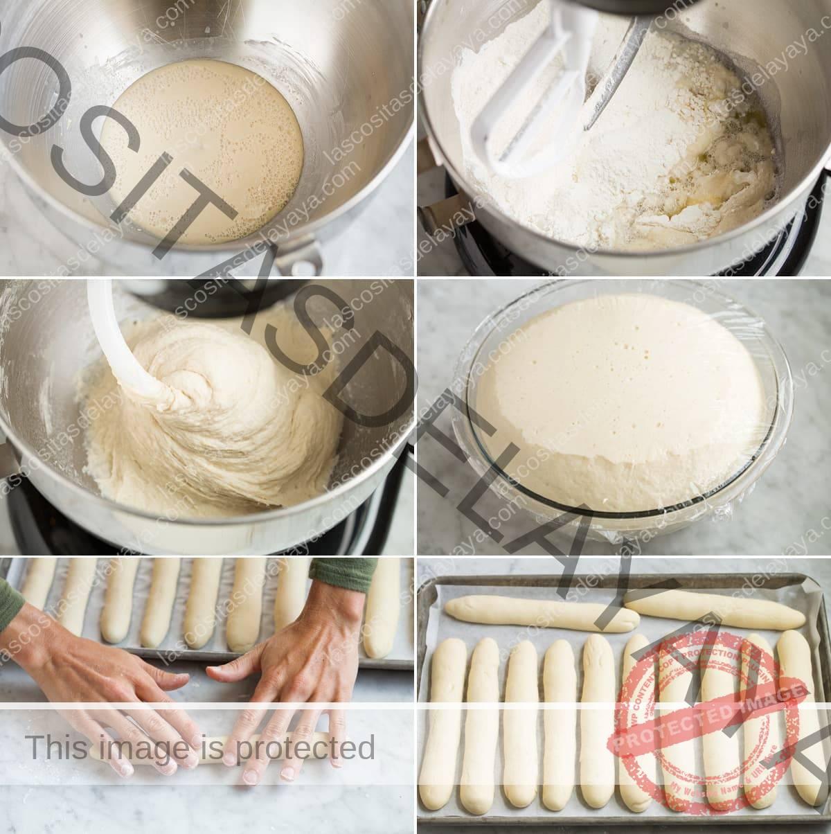 Pasos que muestran cómo hacer palitos de pan caseros