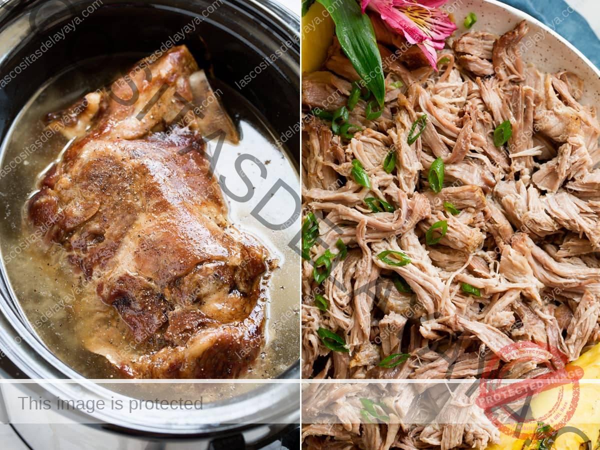 Dos imágenes, la imagen de la izquierda que muestra toda la colilla de cerdo en una sartén eléctrica después de la cocción y la segunda imagen muestra el cerdo desmenuzado en un bol.