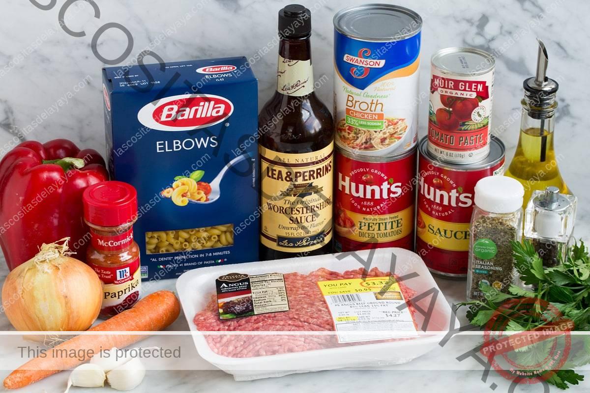 Imagen de los ingredientes utilizados en el estofado de ternera americano.