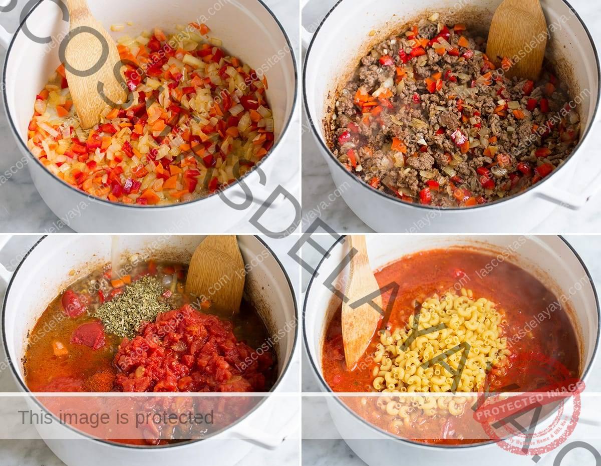 Imagen que muestra los cuatro pasos para preparar gulash casero en una sartén.