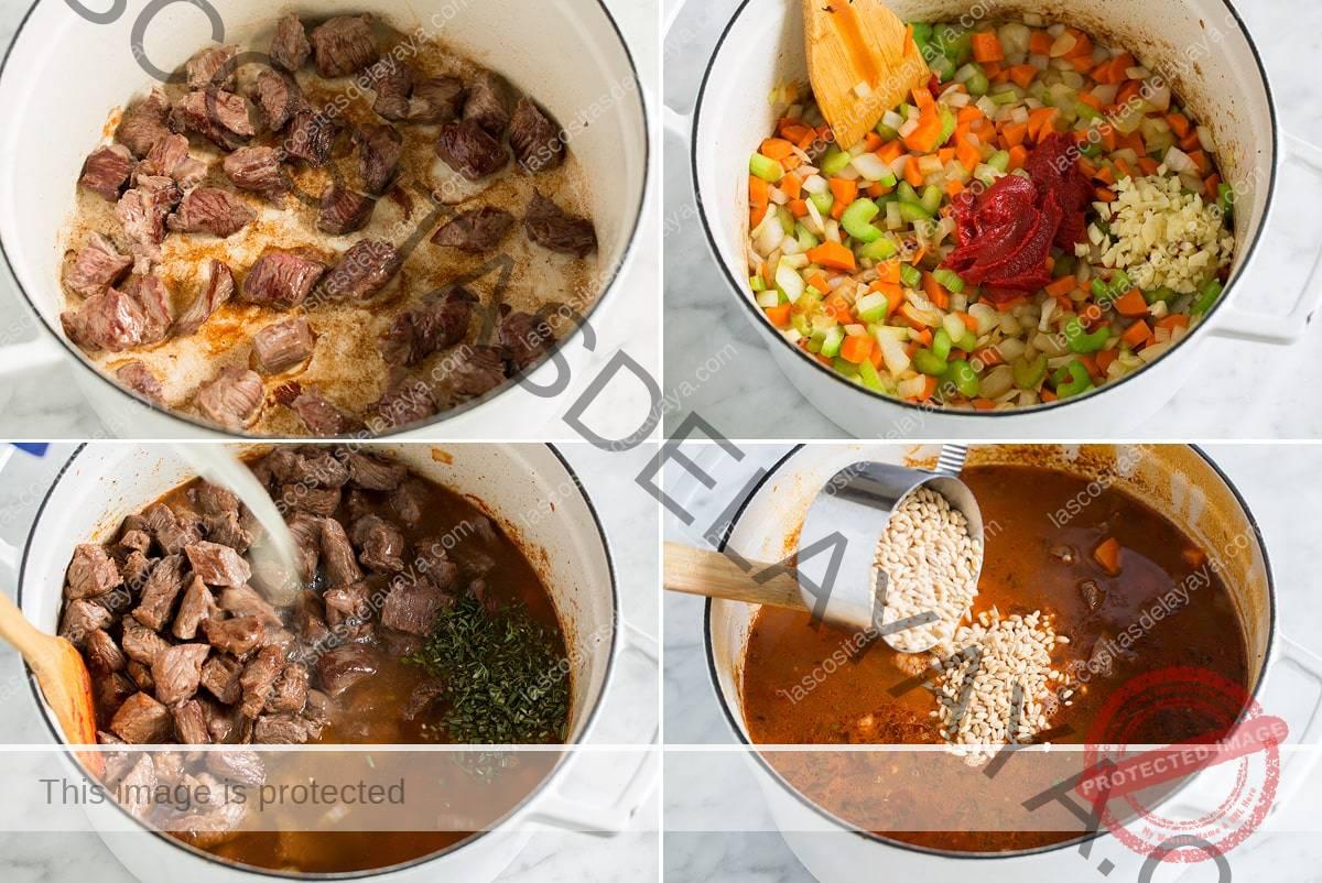 Imagen que muestra cuatro pasos para hacer sopa de carne y cebada.