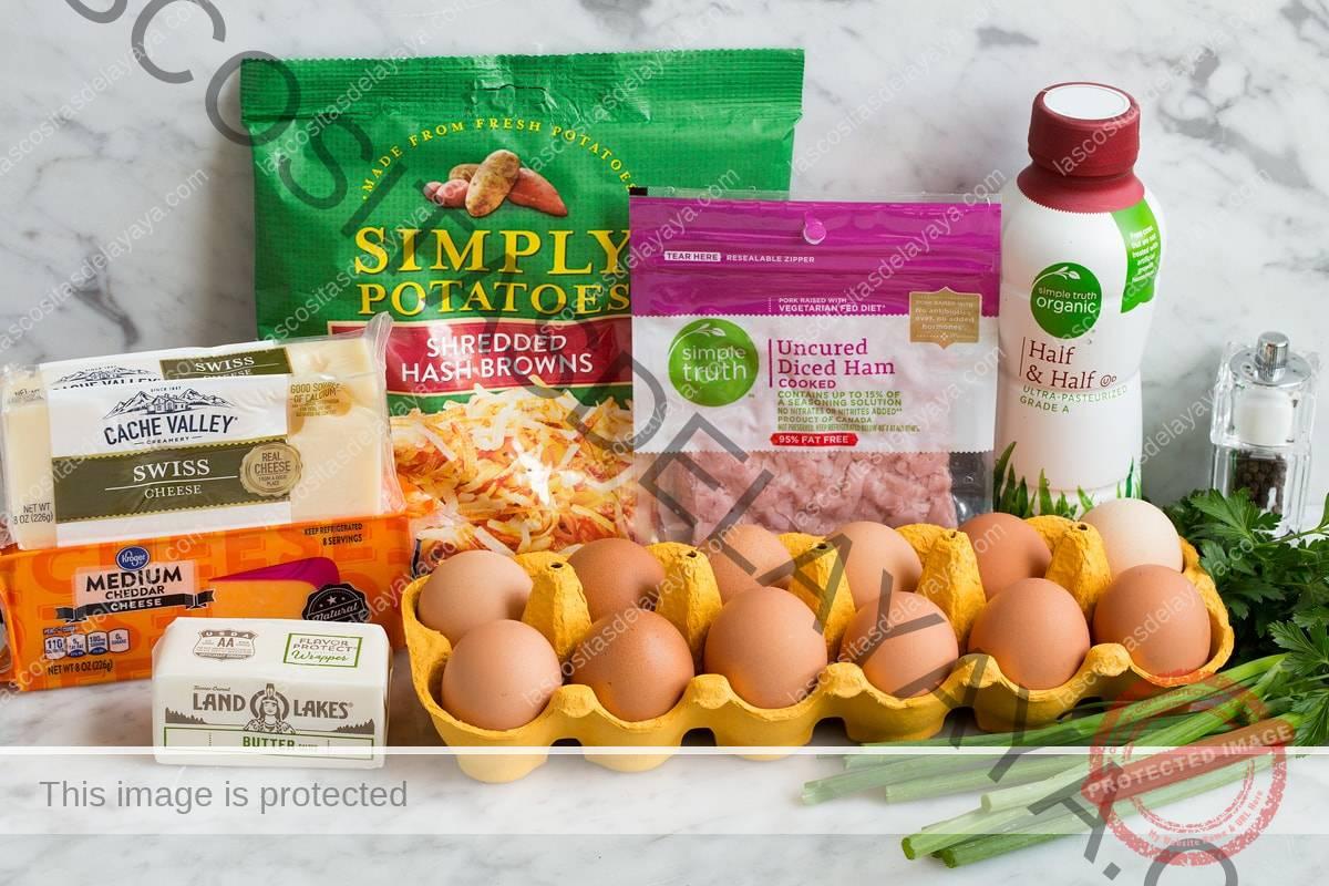 Imagen de ingredientes para cazuela de desayuno.