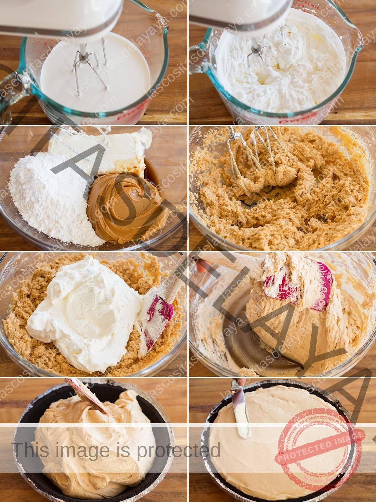 Collage de ocho imágenes que muestran los pasos para hacer el relleno de la tarta de mantequilla de maní y agregar la corteza.