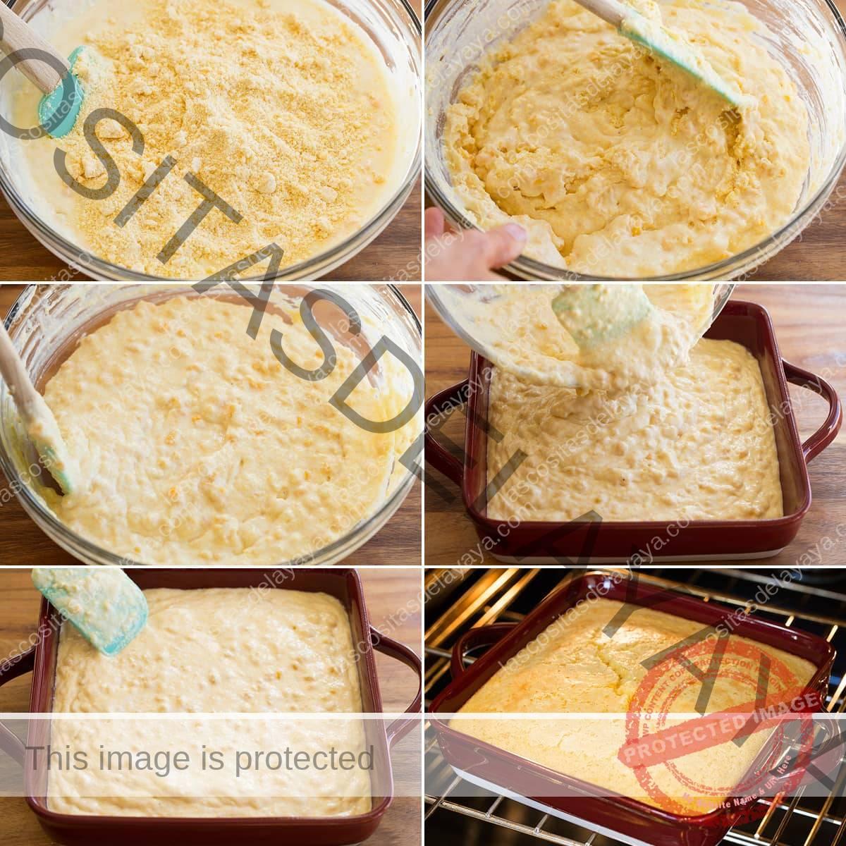 Collage de seis imágenes que muestran cómo mezclar la masa de cazuela de maíz, verter en una fuente de horno y hornear.