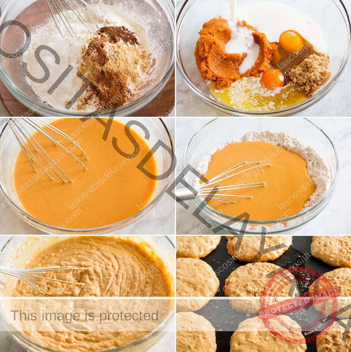 Collage de seis imágenes que muestran los pasos para hacer panqueques de calabaza.  Los condimentos y la harina se mezclan en un bol.  Los ingredientes húmedos se mezclan en otro y luego se combinan.  Luego, la masa se muestra transformada en panqueques en una sartén.