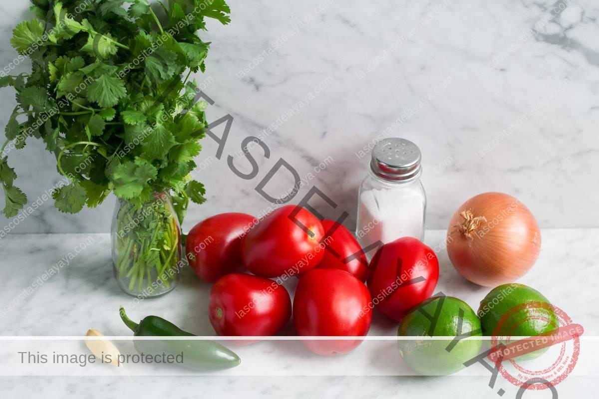 Ingredientes del pico de gallo: tomate, limón, cebolla amarilla, jalapeño, ajo, sal y cilantro.