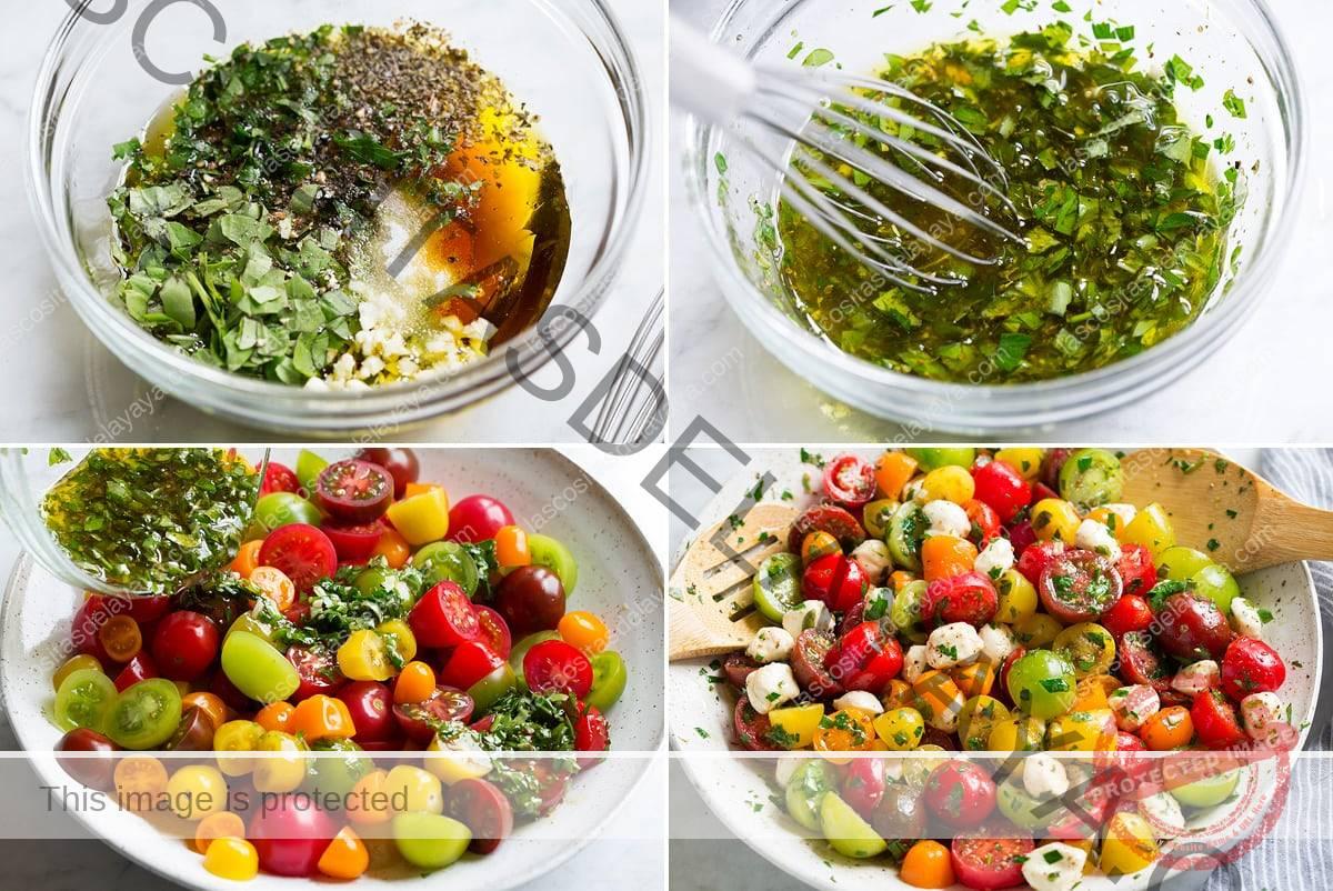 Collage de cuatro imágenes que muestran los pasos para preparar la ensalada de tomate. Muestra la mezcla de salsa en un tazón de vidrio antes y después y echando tomates y mozzarella con salsa en un tazón para servir.