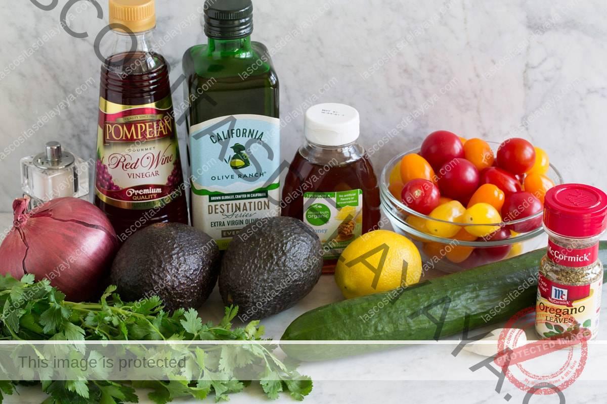 Imagen de los ingredientes que componen la ensalada de aguacate.  Incluye aguacate fresco, cebolla morada, cilantro, perejil, pepino, ajo, limón, tomates uva, miel, aceite de oliva, vinagre de vino tinto y orégano.