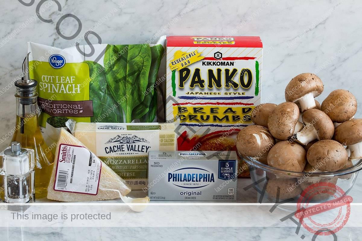Ingredientes para los champiñones rellenos que se muestran aquí.