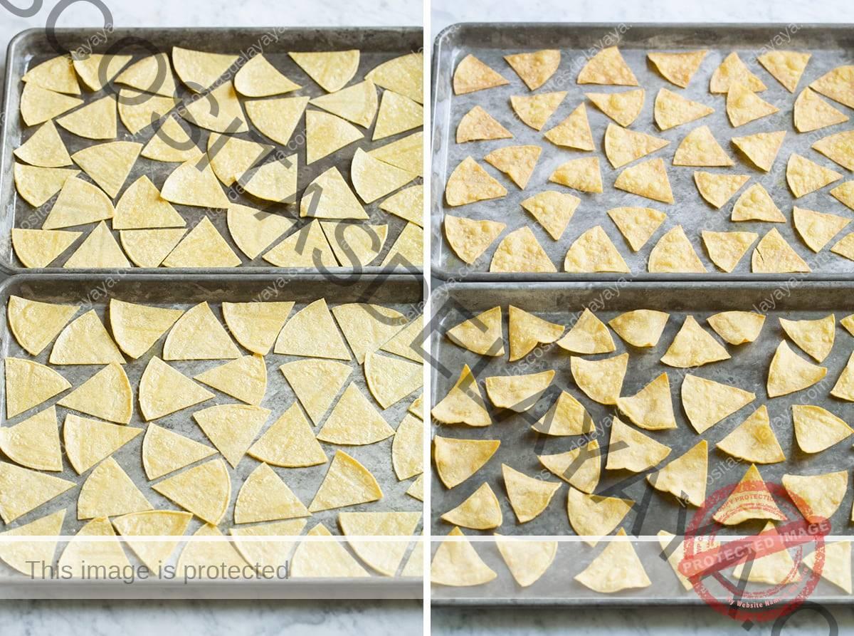 Papas fritas horneadas antes y después de cocinarlas.