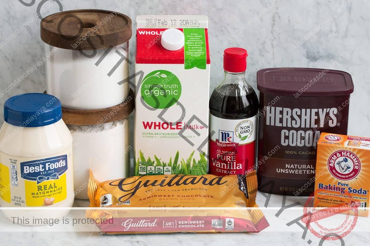 Ingredientes que se muestran aquí y que son necesarios para hacer un pastel de taza de chocolate.