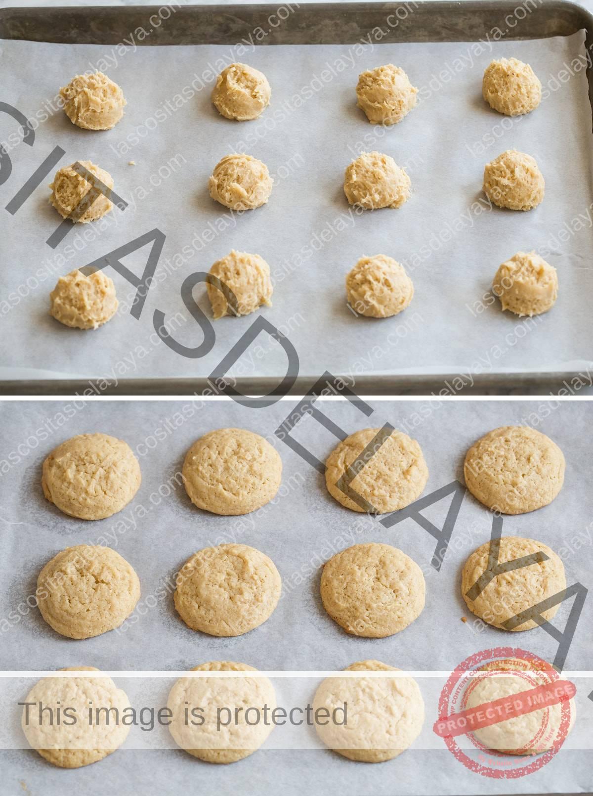 Las galletas de ponche de huevo que se muestran aquí antes y después de hornear en una bandeja para hornear forrada con papel pergamino.