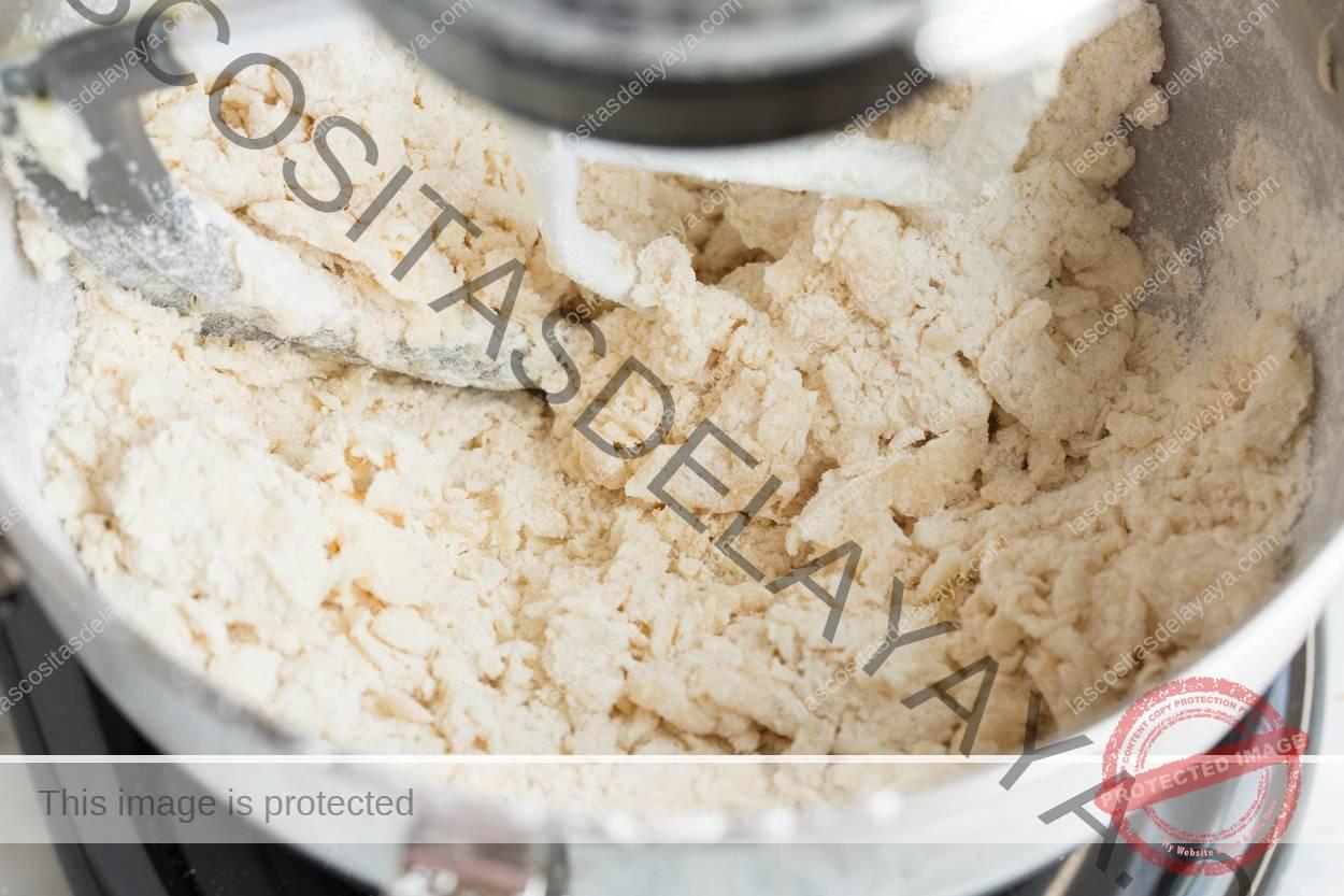 Mezcla de harina de arena recogiendo en un bol. Para Galletas de Boda Mexicanas.
