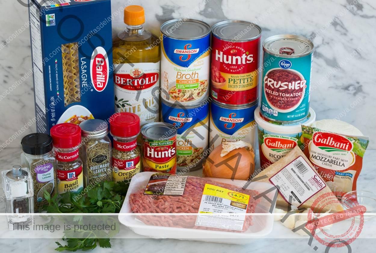 Ingredientes de la sopa de lasaña