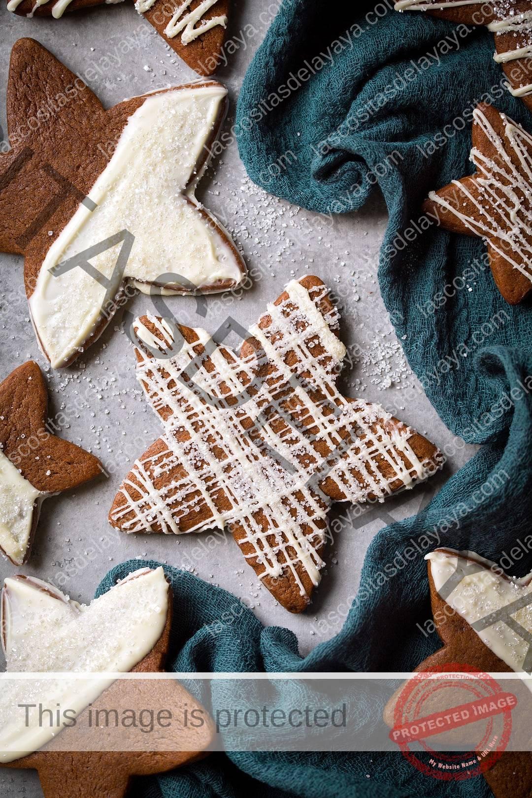 Galletas de chocolate blanco con estrella de jengibre