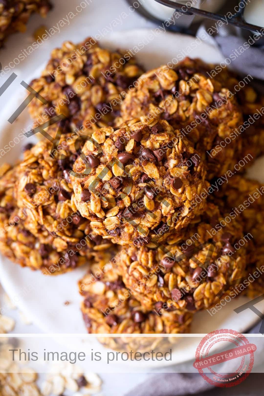 Galletas de desayuno con chispas de chocolate y avena de calabaza