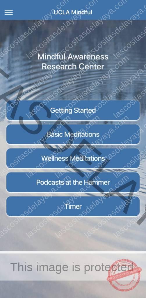 Captura de pantalla de la aplicación UCLA Mindful