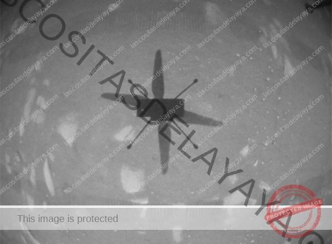 imagen de la sombra del helicóptero Ingenuity durante su primer vuelo