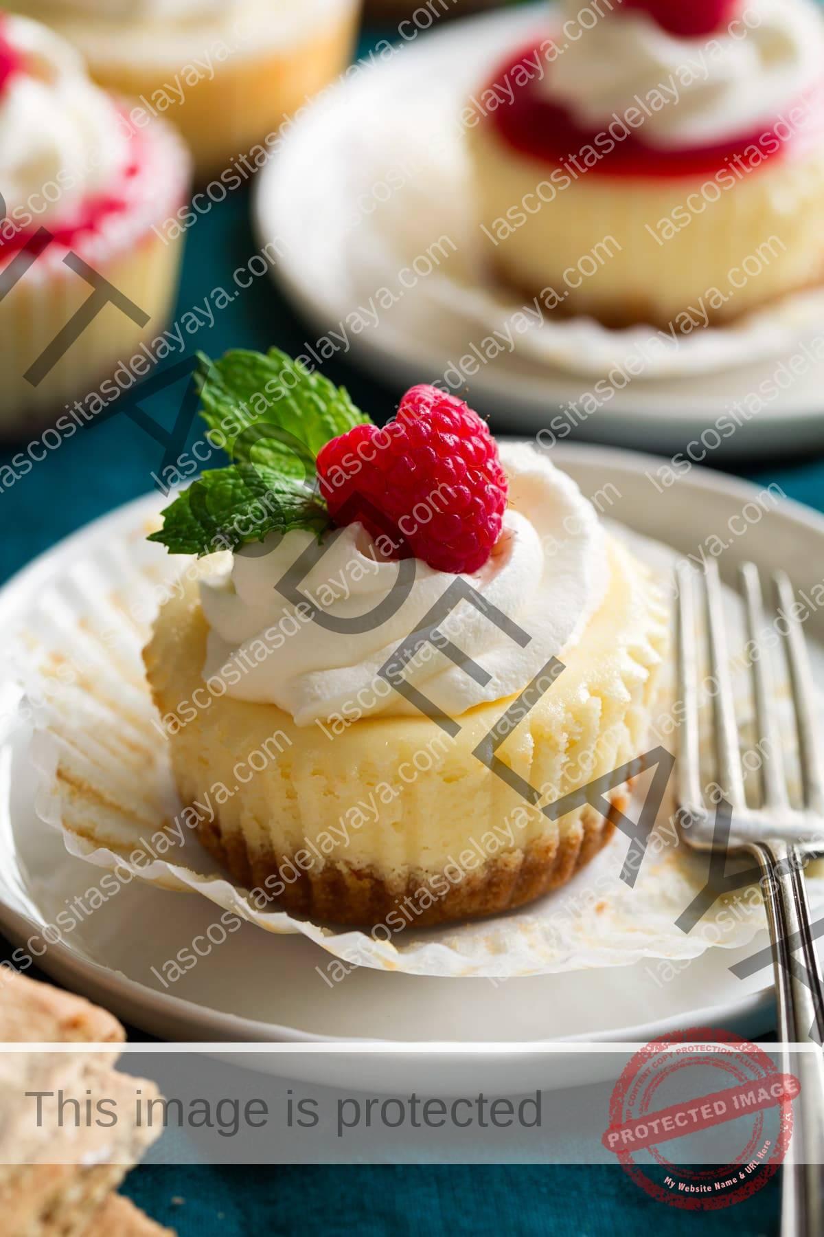 Mini tarta de queso que se muestra en un plato de postre sin envolver del forro para cupcakes.  Se cubre con crema batida, frambuesa fresca y menta.