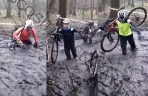 Los ciclistas de ciclocross luchan contra el barro de medio metro de profundidad en el Campeonato Nacional