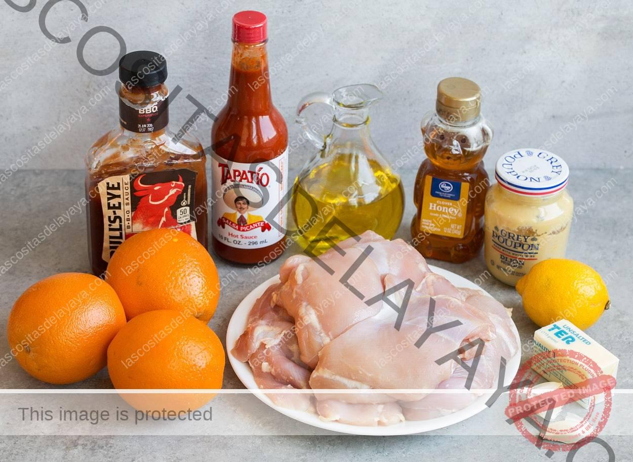 ingredientes pollo a la parrilla naranjas salsa barbacoa salsa picante aceite de oliva miel mostaza dijon mantequilla de limón muslos de pollo con ajo