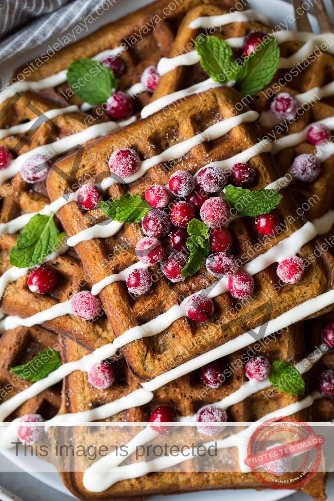 Waffles de jengibre en primer plano