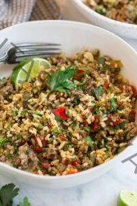 Receta de carne picada y arroz chimichurri